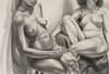 Drawing by Philip Pearlstein, Two Seated Models, One on Eames Chair