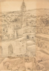 Drawing by Philip Pearlstein, Jerusalem, Kidron Valley
