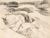 Drawing by Philip Pearlstein, Drawing for Tidal Inlet