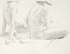 Drawing by Philip Pearlstein, Seated Female Model and Leaning Male Model