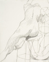 Drawing by Philip Pearlstein, Back of Seated Model Facing Mirror, No. 1