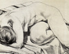 Philip Pearlstein lithograph drawing--Nude Curled Up