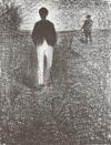 Men Walking in a Field by Georges Seurat, drawing
