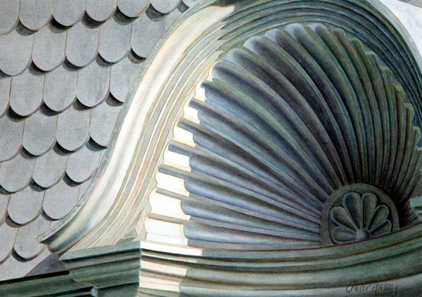 Shell Capital 2005, watercolor, 16 x 22. Private collection.