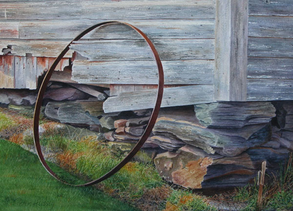 Barrel Hoop II 2005, watercolor, 16 x 27. Courtesy The Harrison Gallery, Williamstown, Massachusetts.