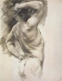 Male Back by John Singer Sargent, charcoal drawing