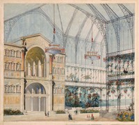 A Winter Garden: Perspective for the First Class Concours sur Projets Rendus--drawing by Richard Morris Hunt