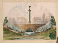 Proposed Design for Central Park Gateway, Warrior's Gate, Eighth Avenue and Fifty-Ninth Street, New York City by Richard Morris Hunt, drawing