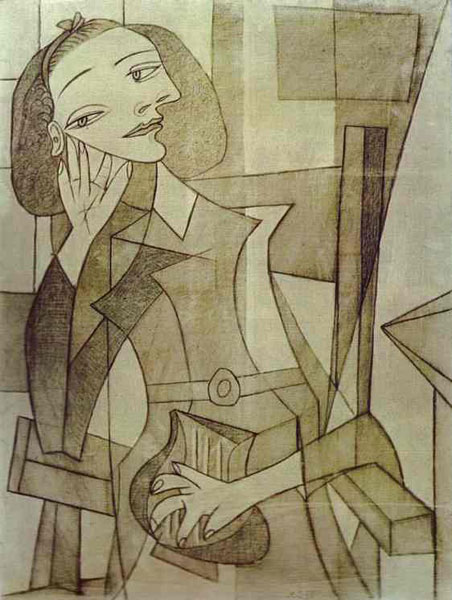 By pablo picasso 1938 charcoal and graphite on canvas