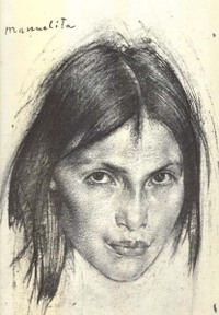 Manuelita by Nicolai Fechin, charcoal drawing