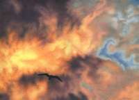 Overly Blazing Sky colored pencil drawing