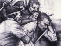 A Beating by Sidney Goodman, 1997, graphite and charcoal drawing