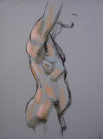 Male Figure by Al Gury, 2006, charcoal and pastel drawing