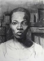 Student Drawing by Njideka Akunyili, 2007, charcoal drawing