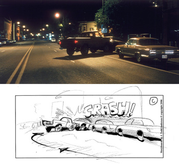 Coen Brothers No Country for Old Men--end result of storyboard drawing by J. Todd Anderson, car crash 2