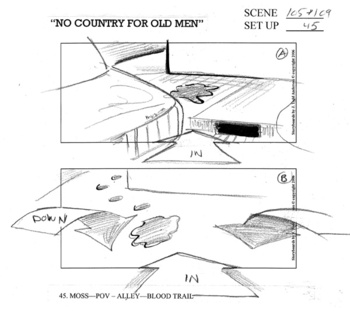 Coen Brothers No Country for Old Men--end result of storyboard drawing by J. Todd Anderson, two banger
