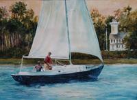 Bradburn Passing Daufuskie Lighthouse watercolor