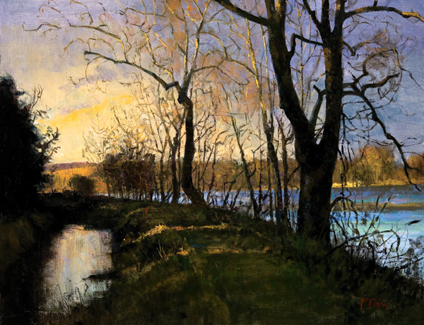 From landscape artist Peter Fiore: Autumn Sunset 2007, oil on linen, 24 x 30. Courtesy Travis Gallery, New Hope, Pennsylvania.