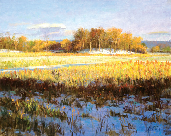 Late Day, Winter Meadow 2007, oil on linen, 24 x 30. Private collection.