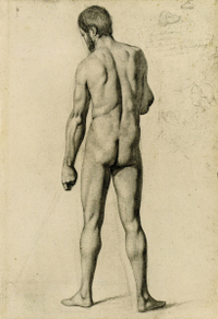Cézanne Academic Nude, Seen From the Back drawing