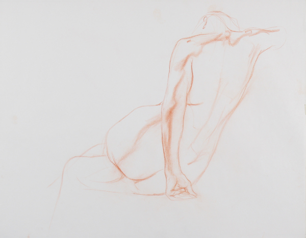 Discover the best colored pencils for artists. Leaning Figure by Dan Gheno, 1997, colored pencil, 24 x 18.