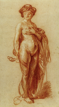 Rembrandt Nude Woman With a Snake chalk drawing