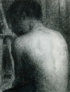 Seurat Nude Figure by an Easel Conté drawing