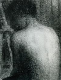 Seurat Nude Figure by an Easel Conté