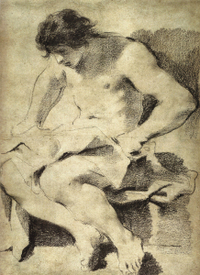 Guercino Seated Youth drawing