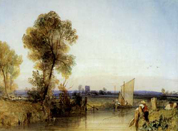 Bonnington A Fisherman on the Banks of a River, a Church Tower in the Distance watercolor
