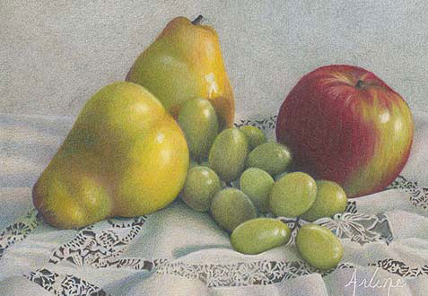Discover the best colored pencils for artists. Delectable Temptations by Arlene Steinberg, 2005, colored pencil, 5 x 7.