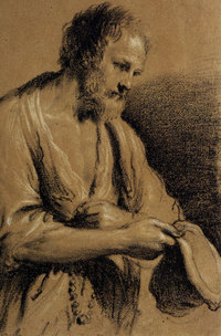 Guercino Beggar Holding a Rosary and a Cap chalk