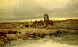 Girtin Kirkstall Abbey, Yorkshire: Evening watercolor