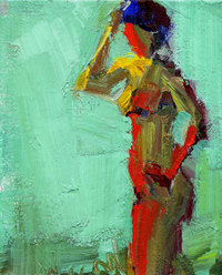 Rolli Figure With Pale Teal Sky acrylic