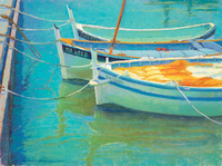 Howe Cassis Boat Reflections pastel