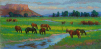 Howe Horses at Dawn pastel