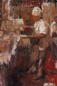 Bourbon Street Chef, New Orleans by CW Mundy, 2006, oil on linen, 36 x 24.