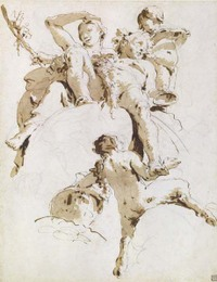 Tiepolo Bacchus and Ariadne pen and brown ink drawing