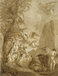 Tiepolo The Rest on the Flight Into Egypt pen and brown ink drawing