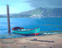 Buechner Boat by the Shore oil