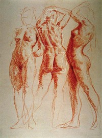 The Three Graces by Jon deMartin, 2002, burnt sienna and white Nupastel drawing