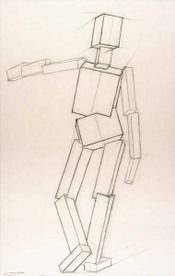 Drawings After Sculpture by Eliot Goldfinger by Jon deMartin, 2008, charcoal pencil drawing