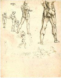 Figural Sketches by Leonardo da Vinci ca. 1505, pen and black ink drawing