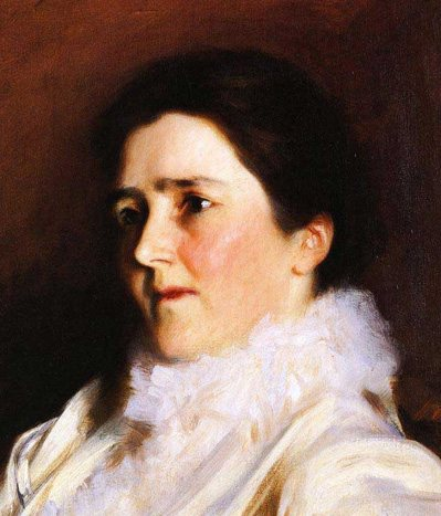 In Sargent's portrait of Mrs. Charles Fairchild, the mouth is half in shadow because of the turn of the head.