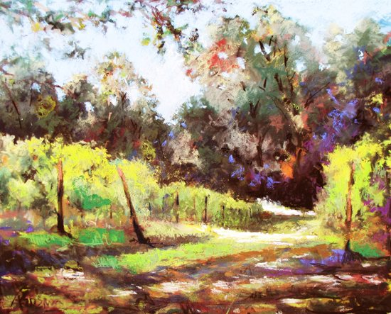 McLaughlin Vineyard by Frank Federico, pastel painting.