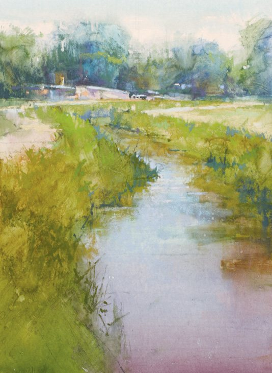 Richard McKinley's landscape painting, Acequia, mid-way through the painting process.