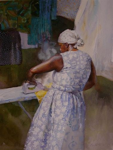 Spring Ironing by Mary Whyte, watercolor painting, 24 3/4 x 19.