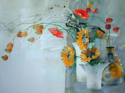 Poppies with Sunflowers by Law Wai Hin, 22 x 30, watercolor painting.