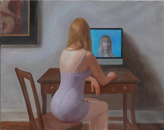 Self-Portrait by Kristin Kunc, oil on linen, 2011.