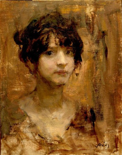Ron Hicks' Petit Femme (oil painting, 14 x 11) is an exercise in how to see specifically, not stereotypically. The model looks like a unique individual.